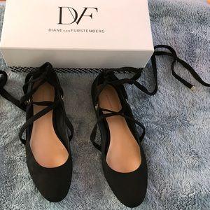 Black Diane von furstenburg ballet lace up flats